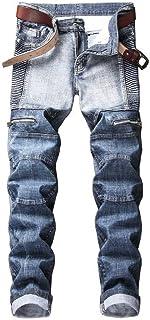 Men's Slim Fit Biker Jeans Stretch Destroyed Ripped Skinny Denim Jeans Pants