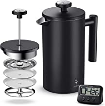 Soulhand French Press Coffee Maker with Thermometer Matte Black Double Wall Stainless Steel Design and 4 Layer Filters Blocking Powder Perfect for Morning Coffee Cold Brew Tea (34oz/1 Liter)
