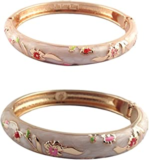 UJOY Cloisonne Jewelry Set Flower Bangles 2 PCS for Women Beautiful Bracelets Gift Box Packed 55A111-55B31
