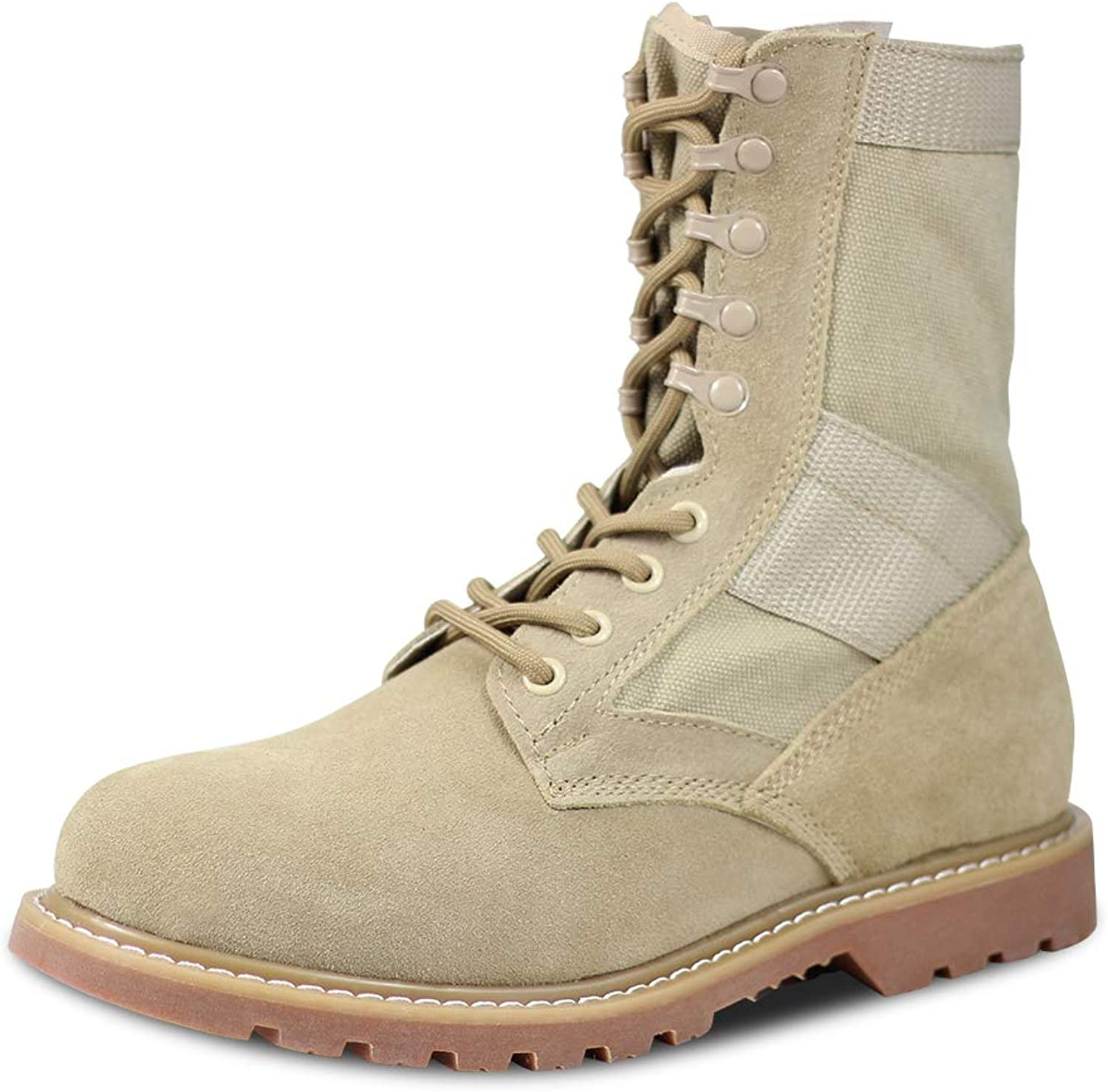 LUDEY Men's Military Boots Leather Nylon Work & Safety Boots Tactical Boots Outdoor Water Resistant Boots Leather Tan IDS-681