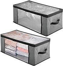 mDesign Bolsa organizadora de almacenamiento de tela suave con cremallera con ventana frontal y lateral fácil de ver y asa...
