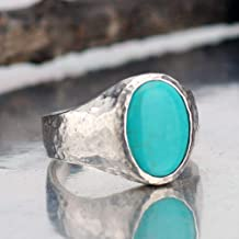 Bold Collection Hammered Unisex Turquoise Men's Ring Handmade 925 k Sterling Silver Handmade Turkish Jewelry