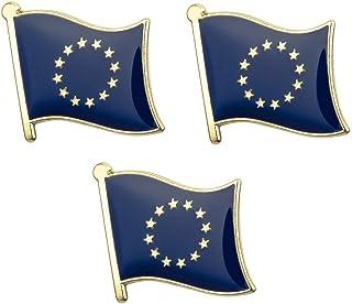 Juego de 3 x Insignias de Pines de Metal de la Bandera de la Unión Europea 19 mm x 15 mm