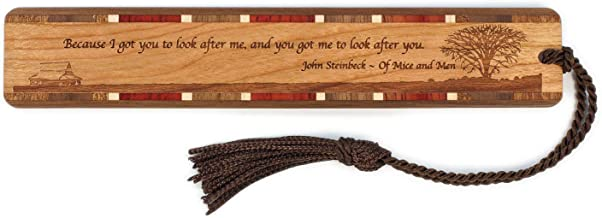 John Steinbeck of Mice and Men Quote, with Prairie - Engraved Wooden Bookmark with Tassel - Also Available Personalized