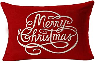 Simple Letters Merry Christmas In Red Cotton Linen Waist Lumbar Pillow Case Cushion Cover Personalized Home Office Decorat...