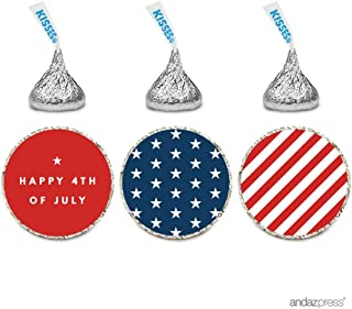 Andaz Press Chocolate Drop Labels Trio, Fits Hershey's Kisses, 4th of July Stars and Stripes, 216-Pack, Fourth of July, Patriotic, President's Day, Superhero Kids 1st Birthday Party, Memorial Day