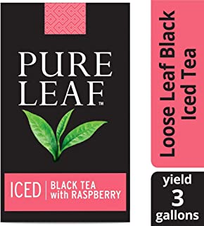 Pure Leaf Black with Raspberry Unsweetened Iced Loose Tea Pouch Made with Tea Leaves Sourced from Rainforest Alliance Certified Farms, 3 gallon, Pack of 24