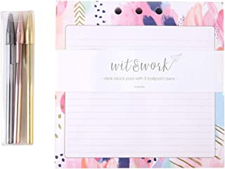 "Memo Block Notepad 7""x7"" Lined Writing Pad Desk Notepad with 3 Metallic Pens and Pen Holder for Office School, 300 Sheets"