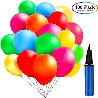 TedGem 100 Piezas Multicolores Globos con bomba de Decoracion de Fiesta pare 100 Globos de Fiesta de Colores Diversos,coloridos globos