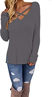 Womens V Neck Pullover Sweaters Sexy Cold Shoulder Long Sleeve Sweaters Tops for Women