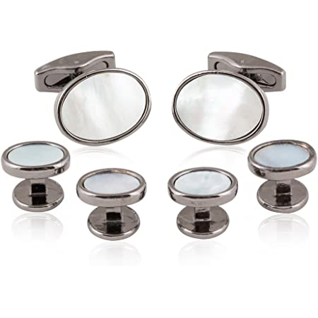 Genuine Mother of Pearl Grooved Circular Cuff Links and Studs