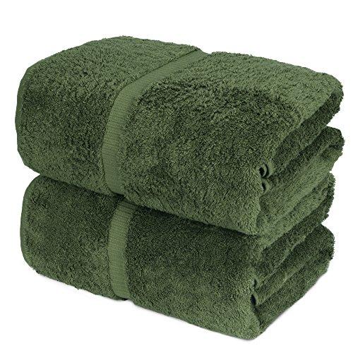 Towel Bazaar 100% Turkish Cotton Bath Sheets, 700 GSM, 35 x 70 Inch, Eco-Friendly (2 Pack, Moss Green)…
