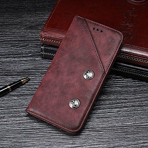 Kompatibel mit HTC Desire 19 Plus Hülle Brieftaschenholster Halterungsfunktion Cover für HTC Desire 19 Plus Hülle(Rot)