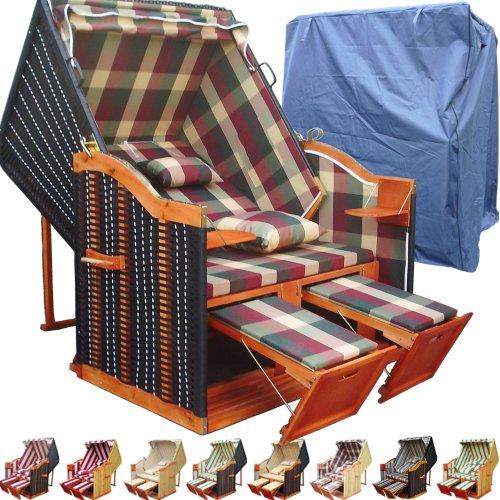XINRO® - XY-54 - Balkon Strandkorb rot - grün karo inkl. Luxus Strandkorb Schutzhülle - Sylt Strandkorb Deluxe - Ostsee Strandkorb