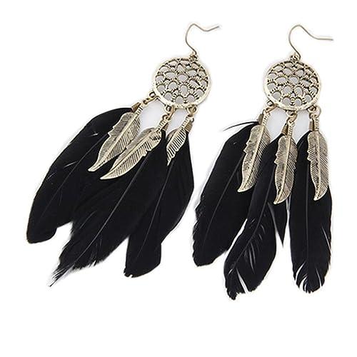 164cf1c5d Cdet 1Pair Women Retro Feather Tassel Pendant Dangle Earrings Ear Studs  Jewelry Accessories Love Gift (