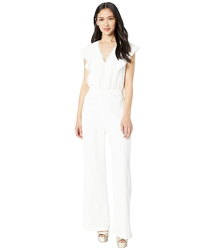 ML Monique Lhuillier  Sleeveless Wide Leg Crepe Jumpsuit with Trim Detail (White) Womens Jumpsuit and Rompers One Piece