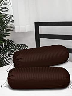 Home Elite 210 TC Satin Striped Bolster Covers , Set of 2 ( Brown )