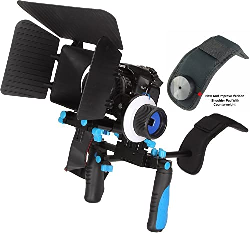 wholesale Pro lowest Steady DSLR Complete Movie Rig with Shoulder Mount and Follow Focus System and a Matte Box Shading Card for All DSLR Cameras discount & Video Camcorders (Blue) online