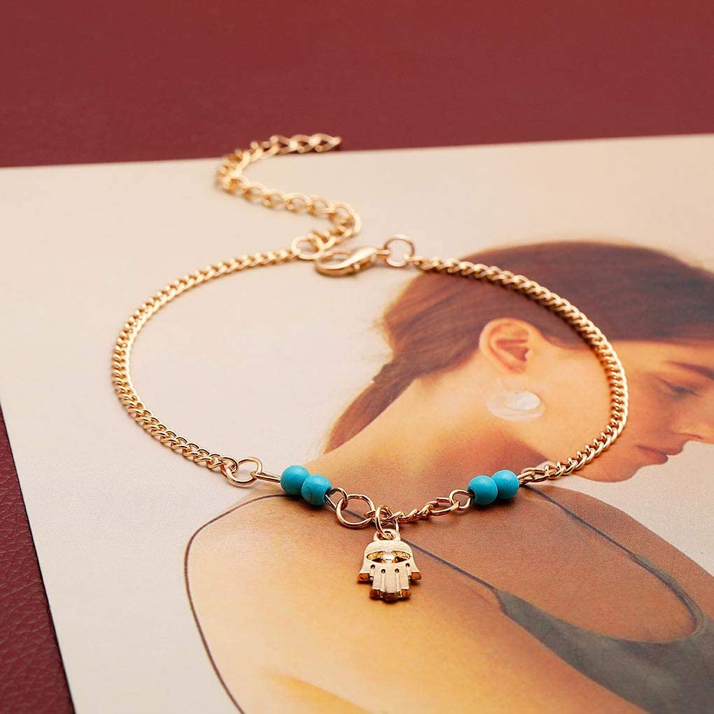 Yalice Boho Turquoise Anklets Gold Hamsa Ankle Bracelet Beach Foot Jewelry for Women and Girls