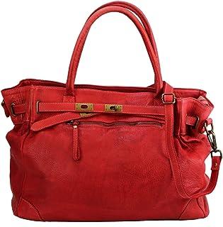 BZNA Bag Mila Rot rosso vintage Italy Designer Business Damen Handtasche Ledertasche Schultertasche Tasche Leder Shopper Neu