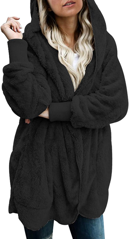 Actloe Womens Open Front Hooded Long Sleeve Cardigan Fleece Outwear with Pocket