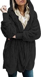 Womens Long Sleeve Solid Fuzzy Fleece Open Front Hooded...