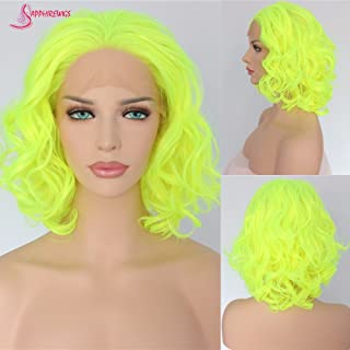 Sapphirewigs Yellow Color Wavy Glueless Synthetic Lace Front Wig Heat Resistant Hand Tied Lace Front Wigs For Women Party