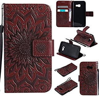 Protective Case Compatible with Samsung Sun Flower Printing Design PU Leather Flip Wallet Lanyard Protective Case with Card Slot/Stand Compatible Samsung Galaxy A3 2017 A320 Phone case
