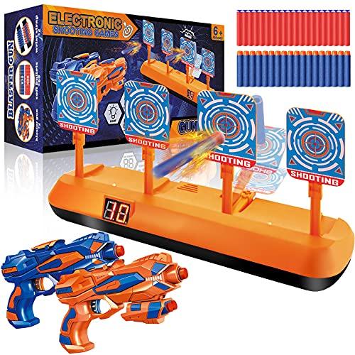 Elektrische Zielscheibe für Nerf, Digitales Ziel mit 2 Spielzeug Blaster Pistolen, 60 Darts, Wertungfunktion & Auto Rücksetzung & Sound, Schießspiel, Kinder Spielzeug Jungen Geschenk 5-12 Jahre