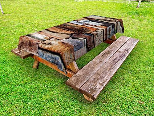 ABAKUHAUS Drijfhout Tafelkleed voor Buitengebruik, Knotty Planken Vintage, Decoratief Wasbaar Tafelkleed voor Picknicktafel, 58 x 120 cm, Bruin