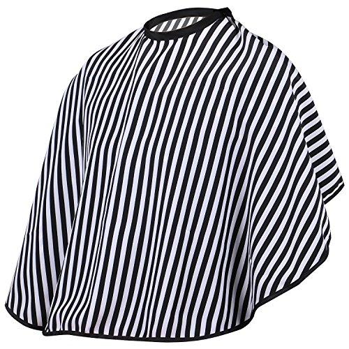 TRIXES Blouse Cape pour Épaules pour Coiffeurs Barbiers Ajustable Noir et Blanc Bande
