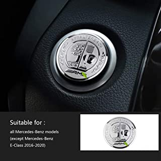 MAXDOOL AMG Interior Auto Start Engine Ignition Button Key Knobs Decals Stickers Emblem Accessories Silver for Mercedes Benz A B E GLK GLA CLA GLE ML GL Class (35mm Start Engine Button)