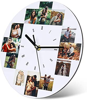 Horloge Murale Photo Personnalisée avec Photos Pendules murales en Bois Personnalisées pour la Famille Mère Anniversaire Mari