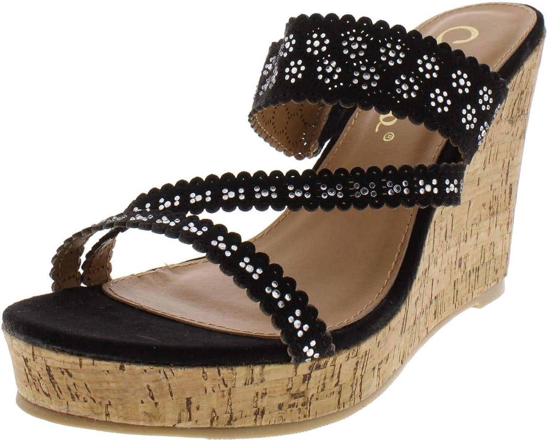 Callisto of California Womens Sofiya Faux Suede Embellished Wedge Sandals