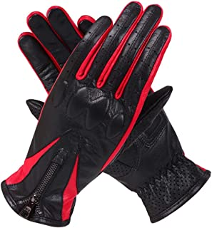 MEIFEI-Gloves Distaff Leather Gloves Locomotive Skid Riding Drive Touch Screen Gloves Keep Warm (Color : Black, Size : XL)