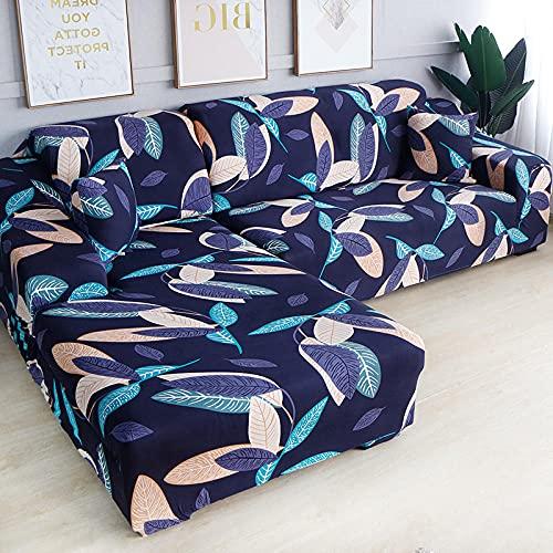 Funda Sofas 2 y 3 Plazas Hoja Morada Fundas para Sofa con Diseño Elegante Universal,Cubre Sofa Ajustables,Fundas Sofa Elasticas,Funda de Sofa Chaise Longue,Protector Cubierta para Sofá