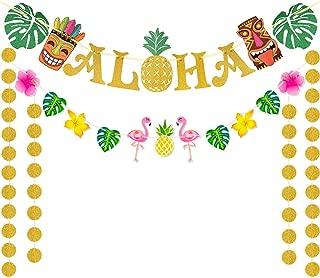 WERNNSAI Hawaiian Aloha Banner Party Decorations - Flamingo Pineapple Tiki Tropical Luau Party Supplies Large Gold Glittery Aloha Sign Flag for Summer Beach Pool Party