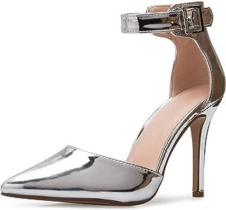 ShoBeautiful Women's Sexy D'Orsay Ankle Strap Pointed Toe Heel Dress Pump
