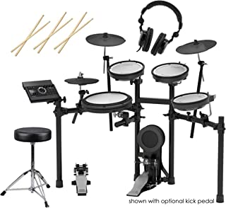 Roland TD-17KV V-Drums Electronic Drum Set - 3x H&A Drum Sticks, Wood Tip, Pair - H&A Double-Braced Drum Throne - H&A Closed-Back Studio Monitor Headphones