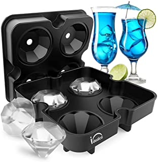 Food-Grade Silicone Ice Cube Trays,Ideolco 3D Diamond-Shaped Ice Cube Maker, Flexible Silicone Ice Tray with Spill-Resistant Removable Lid and Funnel for Cocktail Whisky Bourbon Pudding-Black