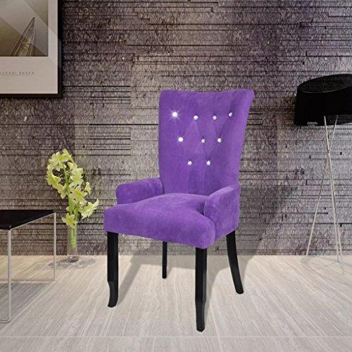 Tidyard Sillón de Comedor con Botones Decorativos para Dormitorio Salón o Sala de Estar,Estructura de Roble,Tapicería de Terciopelo,54x56x106cm Púrpura