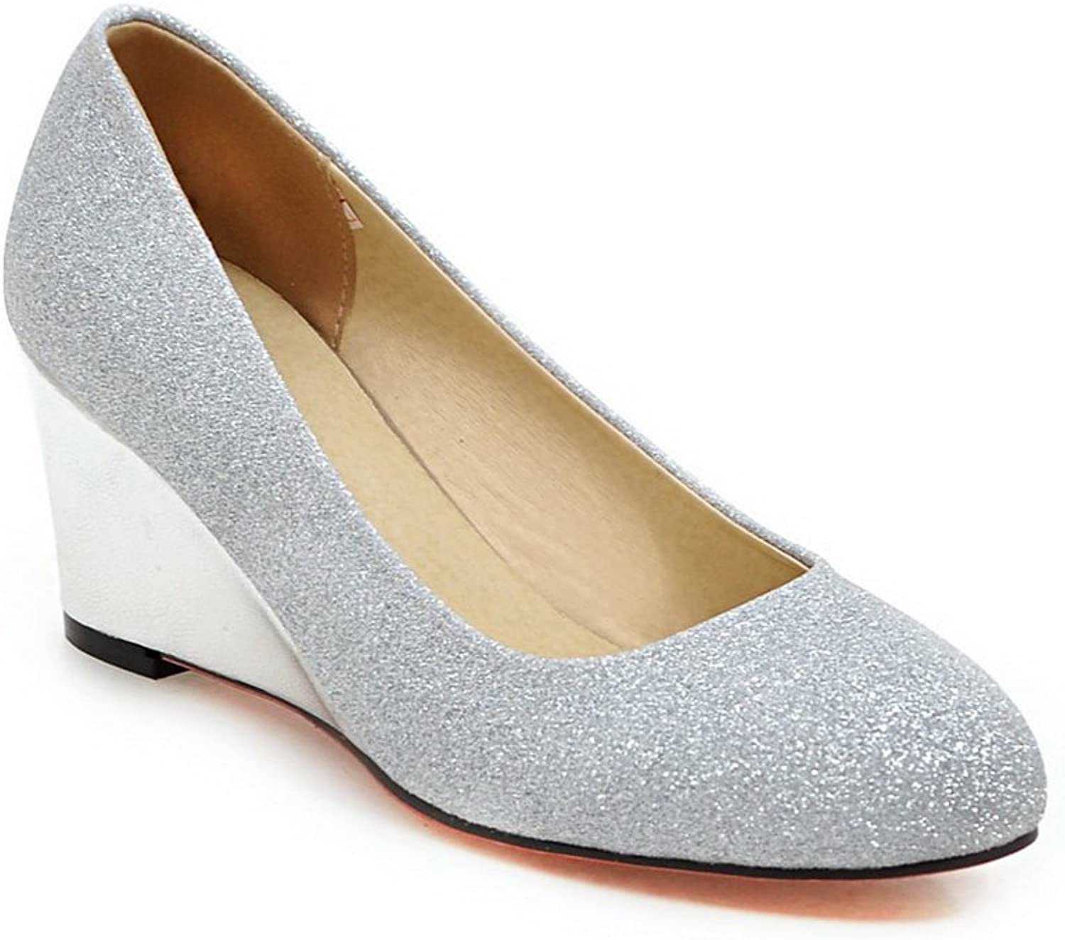 BalaMasa Ladies Wedges Low-Cut Uppers Round-Toe Urethane Pumps-shoes