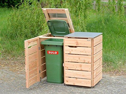 2er Mülltonnenbox 240 L, Holz / Edelstahl – Deckel, Douglasie Natur - 2