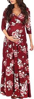 Women Maternity Dresses Pregnant Woman Print Wrap Dress Adjustable Belt Multi-Function Party Dress