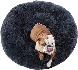 Pets Calming Dog Beds(60CM,Dark Grey), Proxima Direct Ultra Soft Cat Cushion Bed Round Nest Fluffy Plush Bed Donut Cuddler...