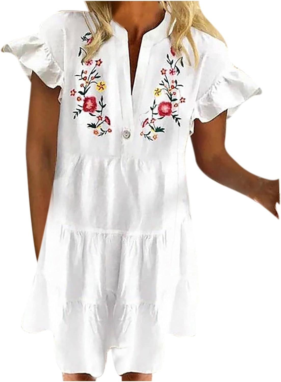 Summer Dresses for Women Casual Beach Sundress V Neck Babydoll Dress Vintage Floral Graphic Gowns Ruffle Tassel Skirt