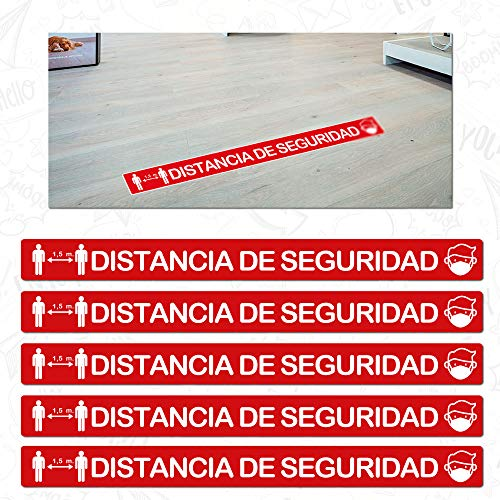 CUAC REVOLUTION Kit 5 Pegatinas Vinilo Suelo Antideslizante Distancia Seguridad (1000x88mm)