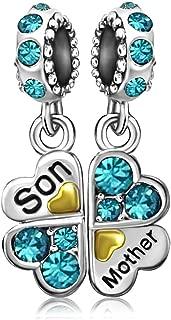 JMQJewelry December Birthstone Mom Mother Son Charm Clover Love Dangle Beads For Bracelets Charms