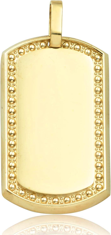 LoveBling 10K Yellow Gold Dog Tag Charm Pendant (1.40