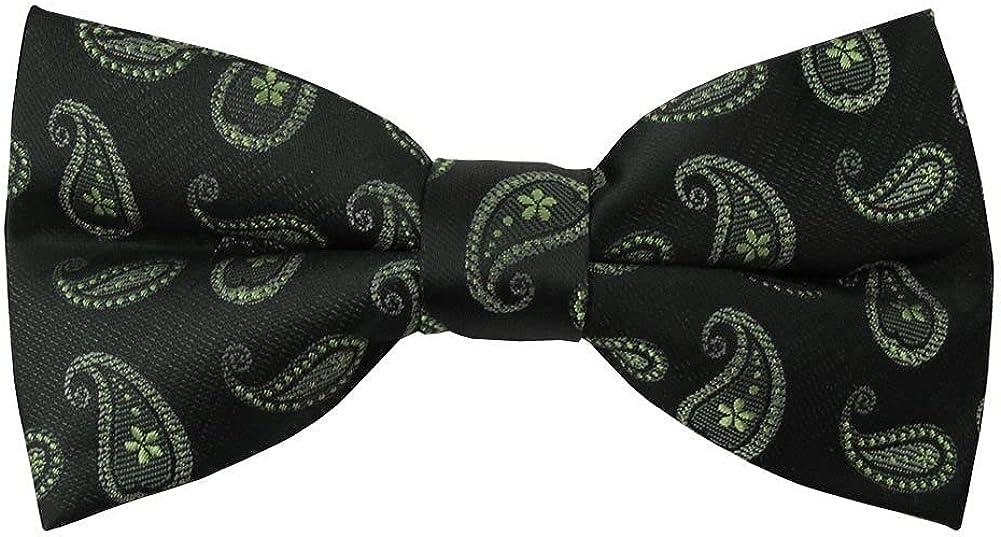 Jacob Alexander Men's Pre-Tied Paisley Pattern Clip-On Bow Tie - Black Green